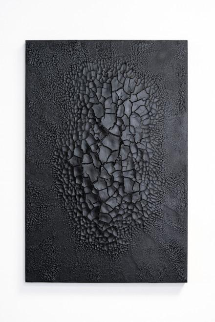 Fratturato Nero by Kris Lamba. 2020. Porcelain, Resin, Ash, Pigments on Framed Panel.