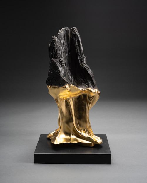 Untitled Bog Oak 1 by Kris Lamba. 2021. Bog Oak, Gold, Stone (base).