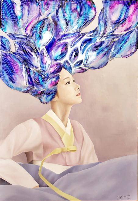 Yeo-ja[woman] 8 by Hyunsook Byun. 2020. Oil, Ink, Resin. Portraiture. Surrealism.