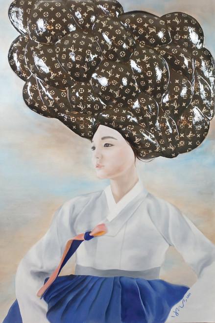 Yeo-ja[woman] 2 by Hyunsook Byun. 2019. Oil, ceramic, resin. Portraiture. Surrealism.