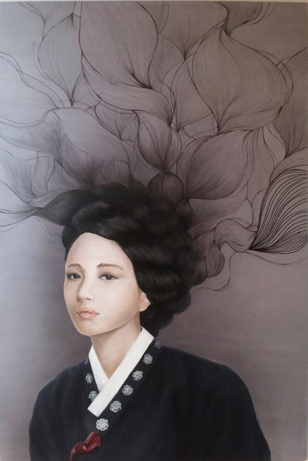 Yeo-ja[woman] 1 by Hyunsook Byun. 2019. Oil. Portraiture. Surrealism.
