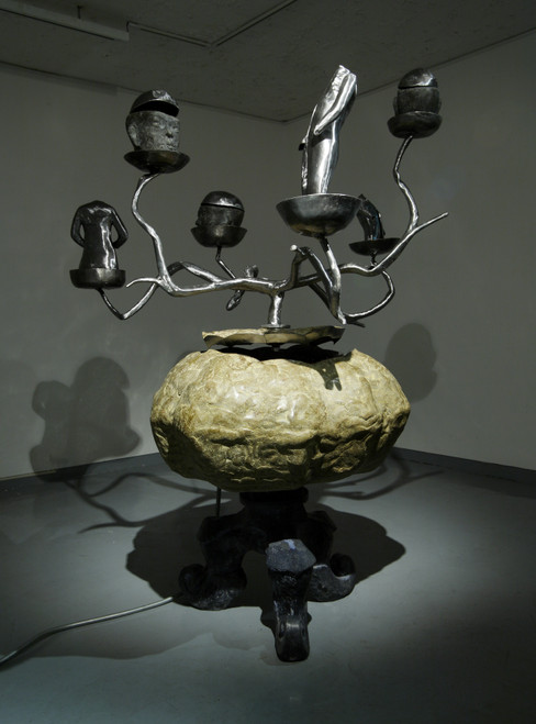The Dignified Pumpkin by Dong Hun. 2008. Special Cement, Iron, Stainless Steel, LED Lights, Tech-Machinery. Kinetic Sculpture.