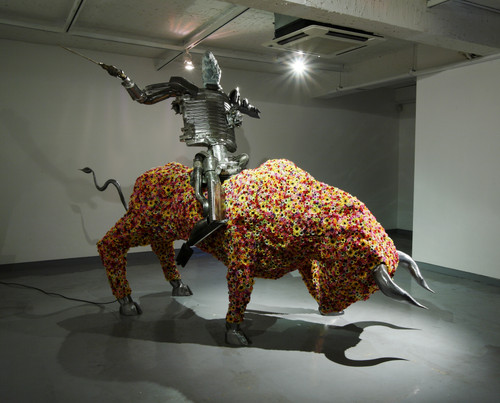 Don Quixote-2009 by Dong Hun. 2009. Iron, Speciality Compound Metal, Artificial Flower, LED Lights, Stone, Bronze. Sculpture.