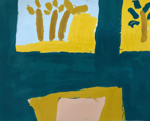 WISHFUL THINKING by Iona Stern. 2021. Monotype hand painted through a screen with acrylic inks.