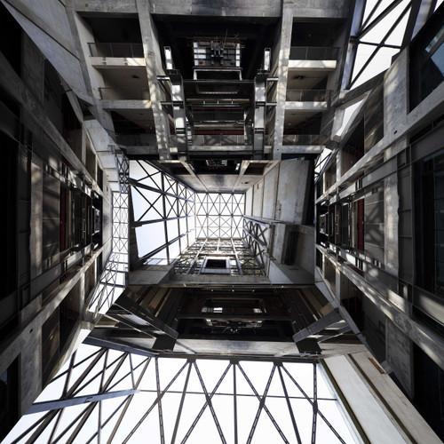 Structure L 19-4 by Kim San. 2019. Digital Print, Wood frame, glass.