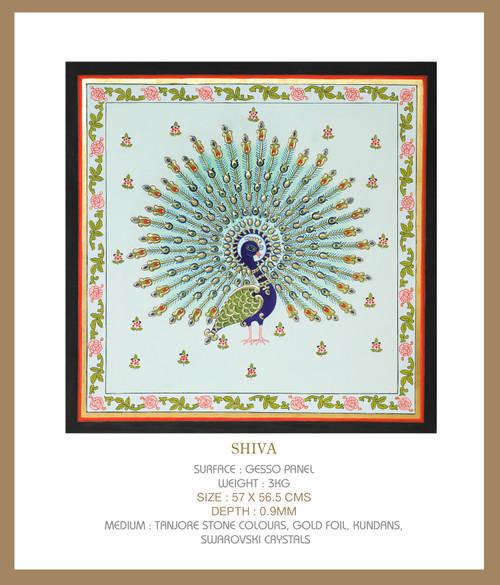 Shiva by Lalita Kapilavai. 2021. Tanjore Stone, Colours, Gold Foil, Pearls, Swarovski Crystals, Kyanite stones.