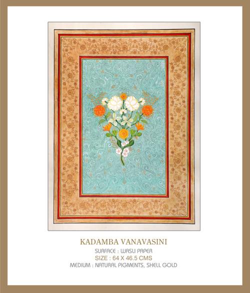 Kadamba VanaVaasini by Lalita Kapilavai. 2021. Natural Pigments, Shell Gold