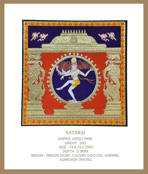 Nataraj by Lalita Kapilavai. 2021. Tanjore Stone, Colours, Gold Foil, Pearls, Swarovski Crystals, Kyanite stones.