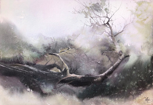 Ascending to the light I by Prasad Beaven. 2021. Watercolour.