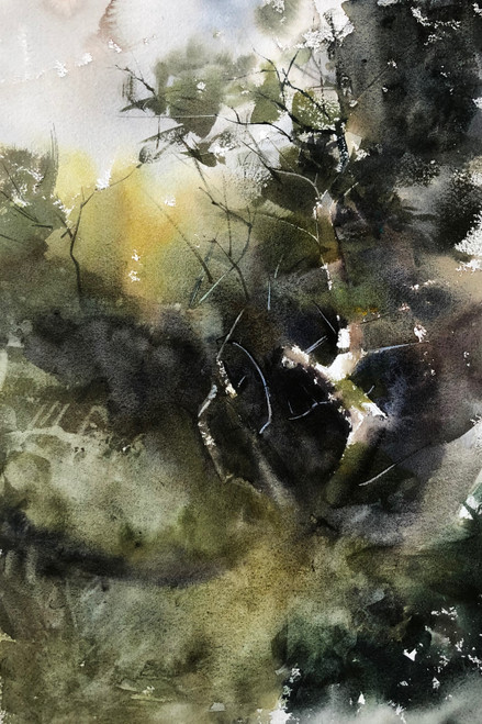 Ascending to the light II by Prasad Beaven. 2021. Watercolour.
