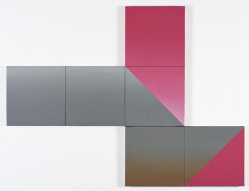 Untitled (cube 02) by Anna Han. 2015. Acrylic on canvas.