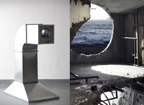 Blue Hole by Cha Minyoung. 2020. Galvanized steel sheet, LCD monitor, LED Lamp etc. Video Sculpture.