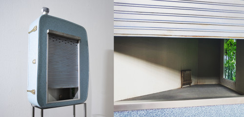 Blue  Shutter by Cha Minyoung. 2020. Polycarbonate, LCD monitor, LED Lamp etc. Sculpture.
