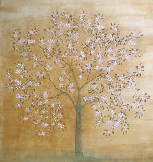 Apple tree in Bloom by Elisabeth H.J Den Boer. 2021. Egg tempera on gesso panel.