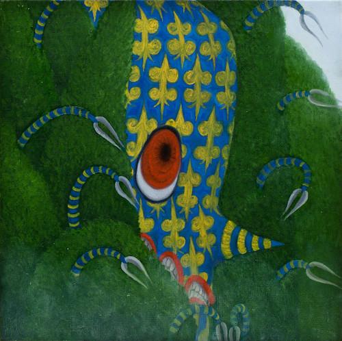 Clown Squid by Jinu Nam. 2020. Oil on Canvas.