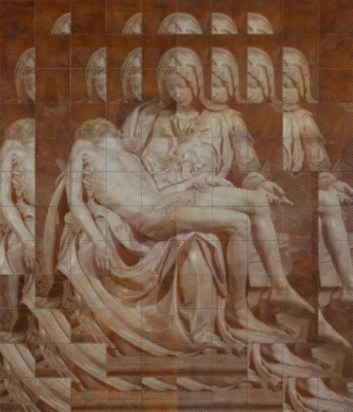 Pieta by Kichang, Choi. 2020. Silkscreen on Oxidized Steel Plate, Resin.