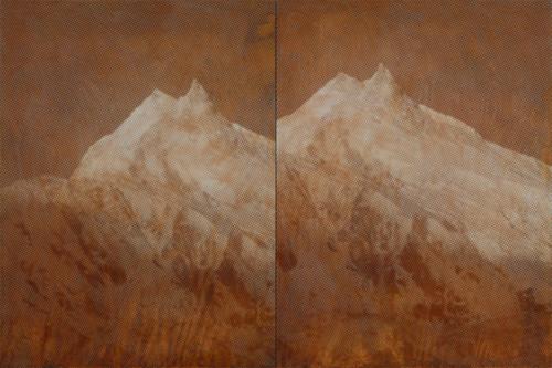 Double peaks by Kichang, Choi. 2020. Silkscreen on Oxidized Steel Plate, Resin.