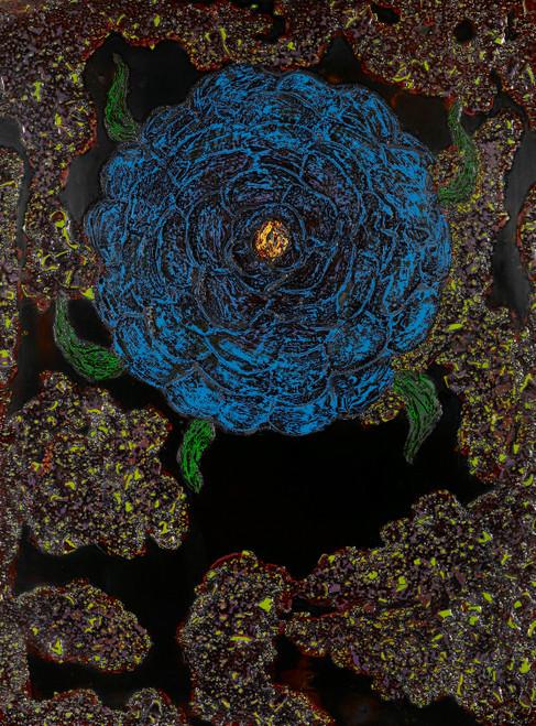 Blue flower-1 by Jung Chaehee. 2006. Ott painting on wood (Ottchil color) .