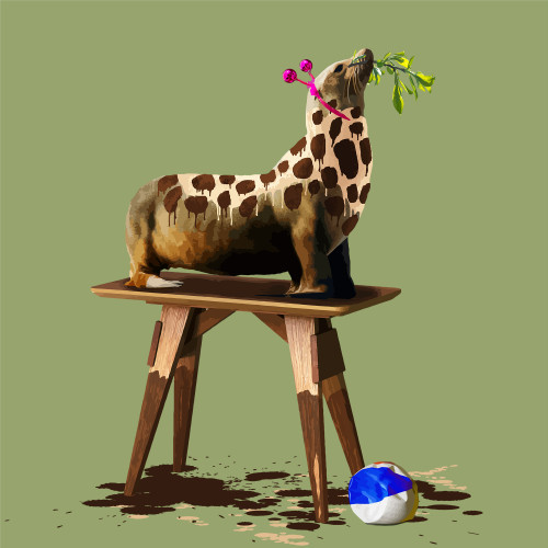 The Seal Who Wanted to be a Giraffe by Carl Moore. 2020. Digital Collage. Pop Surealism
