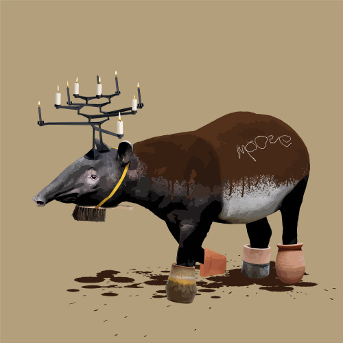 The Tapoose Who Wanted to be a Moose by Carl Moore. 2020. Digital Collage. Pop Surealism