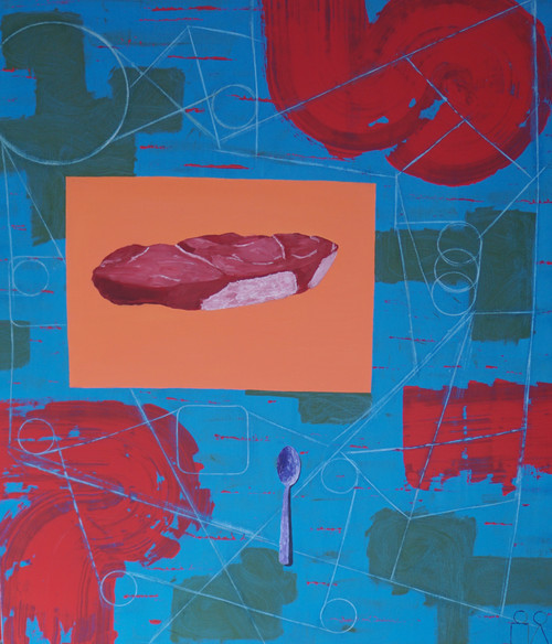 Eating Raw Meat With a Spoon by Fauzi Satyaputra. 2021. Oil on Canvas.