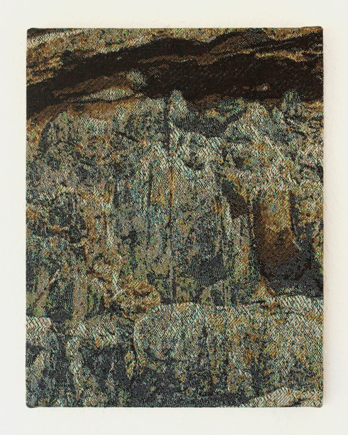 Quarry 04 by Seungwon Jung. 2020. Digital Jacquard woven tapestry, wooden panel.