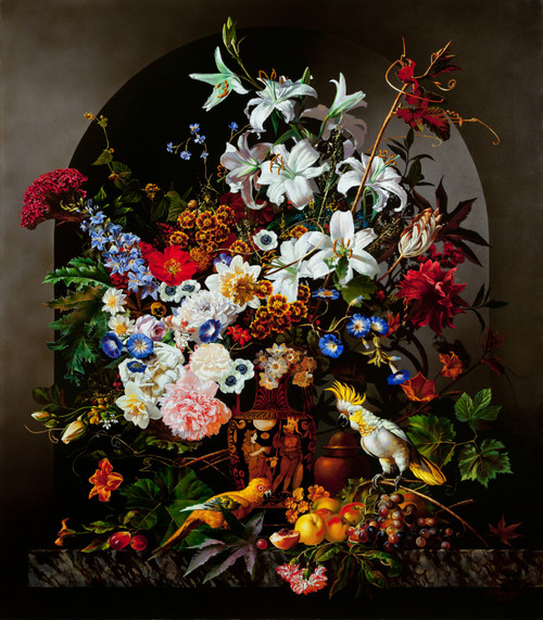 Eclectic Gallery_Alexey Golovin_Still life with parrots_2007_Oil on canvas_120 x 105cm