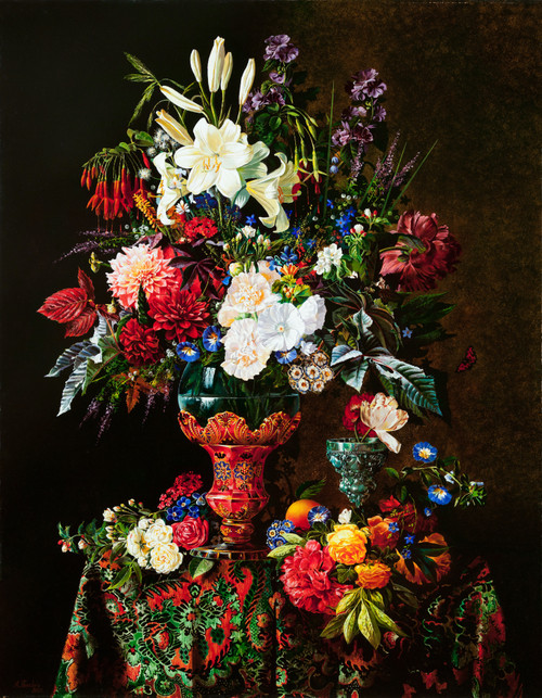 Eclectic Gallery_Alexey Golovin_Still life with red vase_2007_Oil on canvas_135 x 105cm