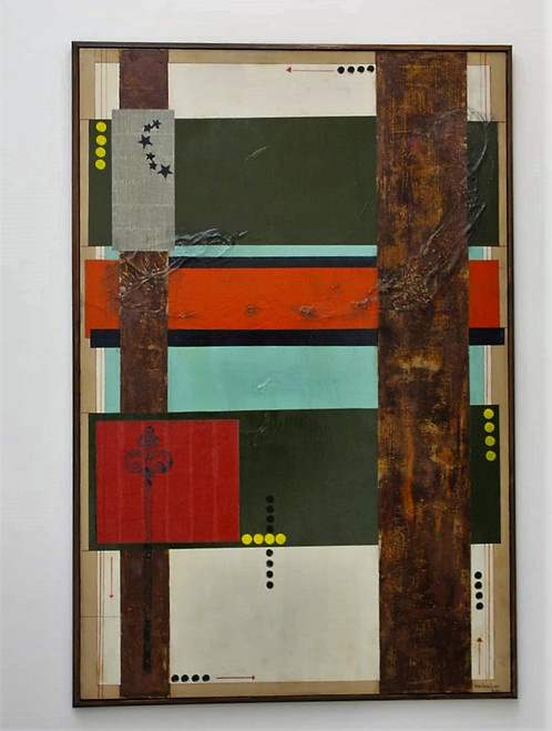 Lockdown Day 29th and Brexit by Pedro Sousa Louro. 2020. Mixed Media, Collage, Printing, Copper Powders on Canvas. Abstract Cubist Concept.