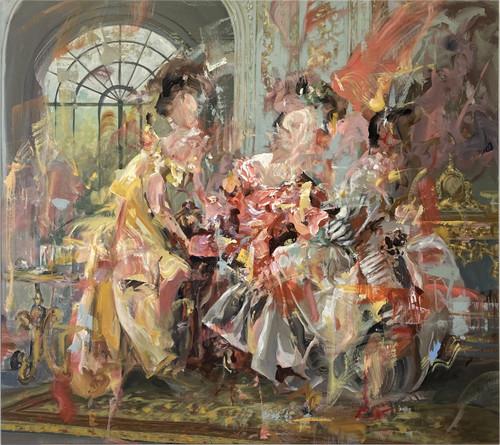 Dairo Vargas, Ladies in waiting, 2021, Mixed media on canvas