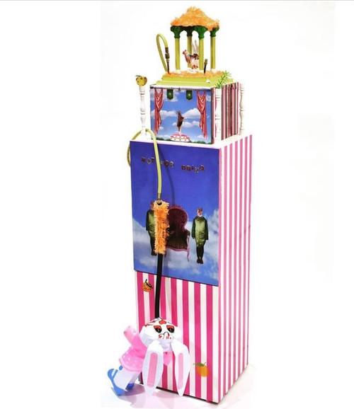 NotfordrinQ by Ammara Jabbar_2020_Wooden structure, mirrors, ornaments, fur, air machine, PVC rabbit, pipe, vibrator, brass bells