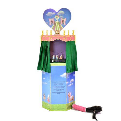 BloW by Ammara Jabbar_2019_Wooden structure, print on wood, bonnet, dryer, LED-light strip, found objects, mirror podium, silk, pipes, paint, ceramic bird whistles, bells