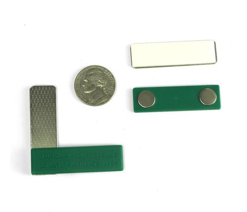 Name Badge Magnets Green Plastic w/2 Neodymium Magnets