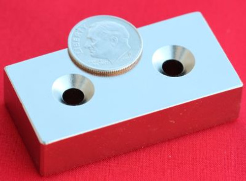 N42 Neodymium Magnets 2 in x 1 in x 1/2 in Bar w/2 Dual Countersunk Holes