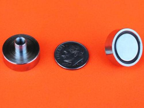 "Neodymium Cup Magnets w/M4 Female Stud 5/8"" 24 lbs Holding"