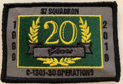 37SQN Rectangle - 20th Anniversary Op Service (with velcro)
