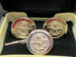 RAAF Crest Cufflinks - ROUND with Crest Pin - SILVER