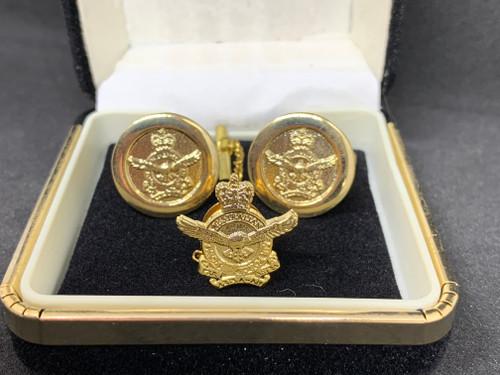 RAAF Crest Cufflinks -Round - with RAAF Crest Pin - GOLD