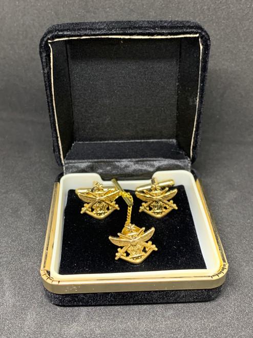 ADF Tri-Service Cufflinks & Pin - GOLD