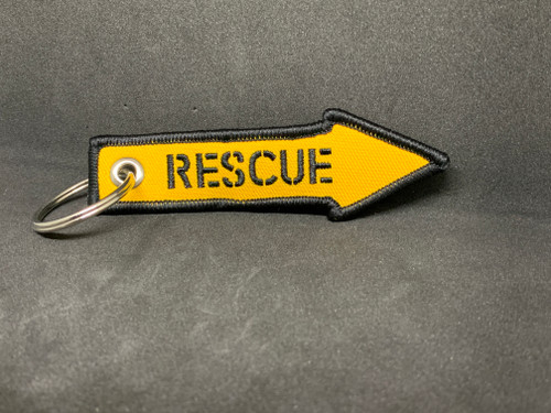 Embroidered RESCUE Key Tag, Bag Tag