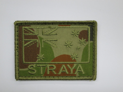 STRAYA -  MORALE PATCH Green on Auscam75mm x 55mm