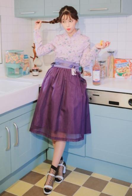 Teterot Salon Wrap Skirt Mid Length Nobang Purple T1H06B109