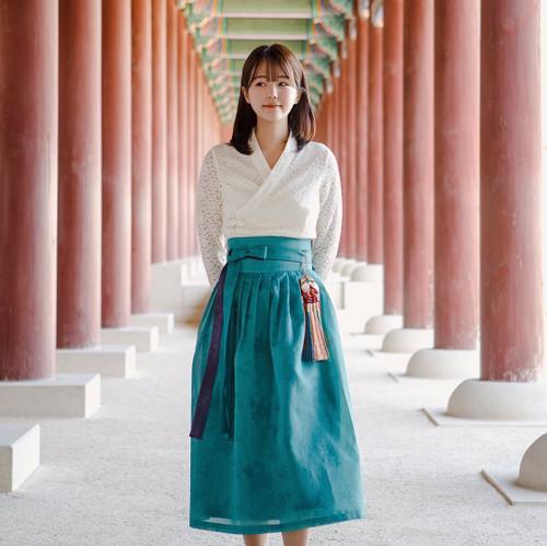 Teterot Salon Wrap Skirt Mid Length Traditional Navy Teal T1H06B110