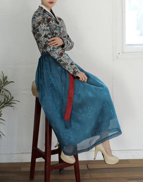 Teterot Salon Wrap Skirt Long Length Traditional Teal C1F06C001