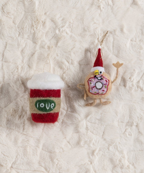 Shiraleah Set of 2 Coffee and Donut Ornaments 42-57-006