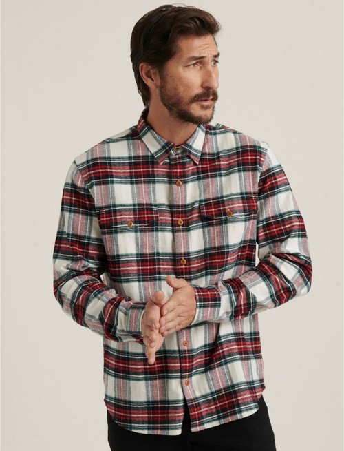 Lucky Brand Men's Long Sleeve Redwood Workwear Button Down Shirt 7M43691 Red Plaid (FINAL SALE)