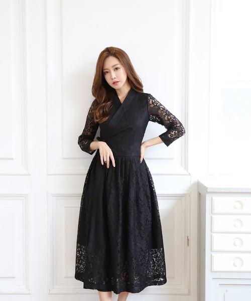 The Goeun Lace Cheolik Wrap Dress