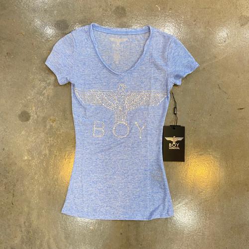Boy London Ladies Embellished Burnout Short Sleeve Blue Tee BW-BWTR (FINAL SALE)
