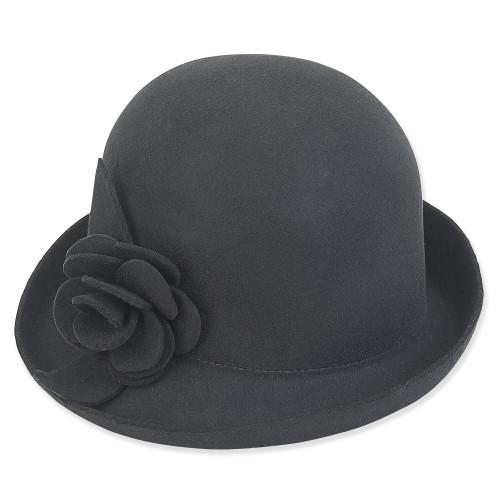 """Adora Wool Felt Cloche w/ Self Floral Trim 2.75"""" Brim Hat AD1068"""