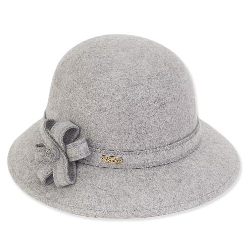 """Adora Wool Felt Cloche w/ Self Bow Trim 2.5"""" Brim Hat AD987"""